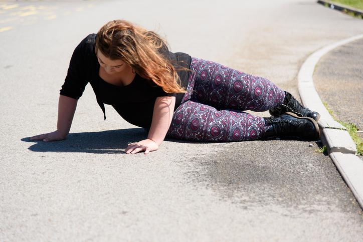 Falling in the street